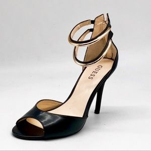 Guess High Heel Gold Double Ankle Strap Sandals